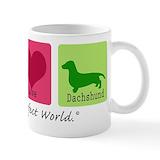 Peace love dachshund Coffee Mugs