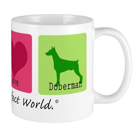 Peace Love Doberman Mug