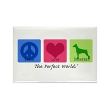 Peace Love Doberman Rectangle Magnet