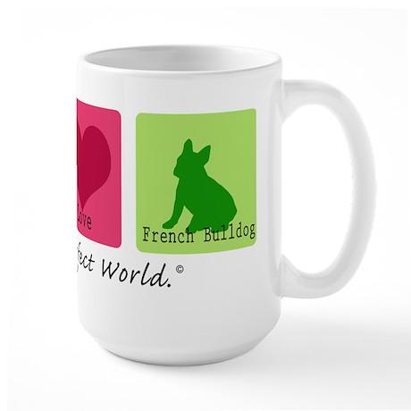 Peace Love French Bulldog Large Mug