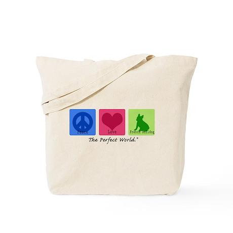 Peace Love French Bulldog Tote Bag