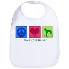 Peace Love Greyhound Bib