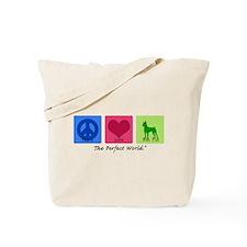 Peace Love Min Pin Tote Bag