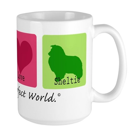 Peace Love Sheltie Large Mug