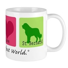 Peace Love St Bernard Mug