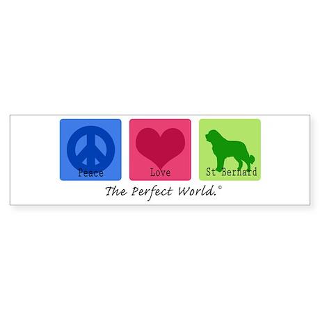 Peace Love St Bernard Bumper Sticker