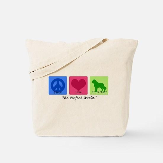 Peace Love St Bernard Tote Bag
