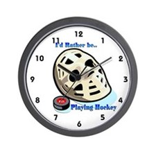 Rather Be Playing Hockey Wall Clock