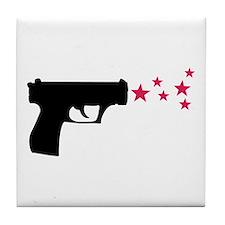 black pistol 9mm star gun Tile Coaster