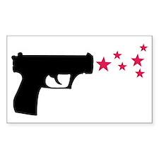 black pistol 9mm star gun Rectangle Decal