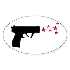 black pistol 9mm star gun Oval Decal