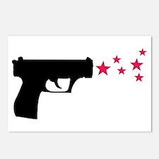 black pistol 9mm star gun Postcards (Package of 8)