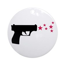 black pistol 9mm star gun Ornament (Round)