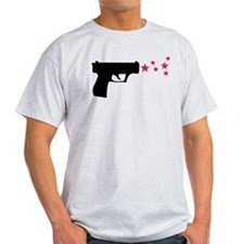 black pistol 9mm star gun T-Shirt