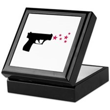 black pistol 9mm star gun Keepsake Box