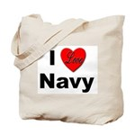 I Love Navy Tote Bag