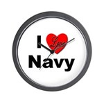 I Love Navy Wall Clock