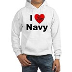 I Love Navy (Front) Hooded Sweatshirt