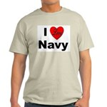 I Love Navy (Front) Ash Grey T-Shirt