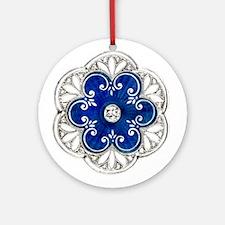 Blue Jewel Medallion NECKLACE PENDANT or Ornament