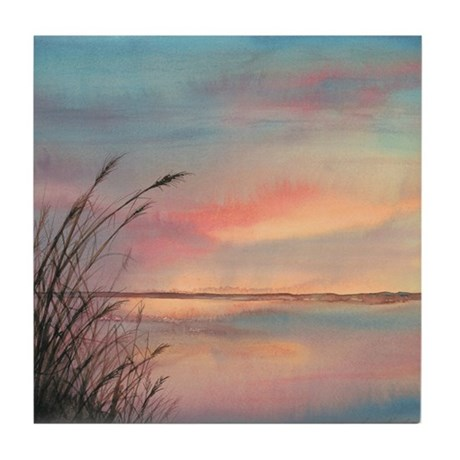 Sunrise Water View Tile Coaster