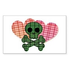 Plaid Skull and Hearts Rectangle Decal