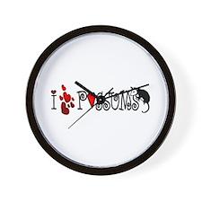 I Love Hearts Possums Wall Clock