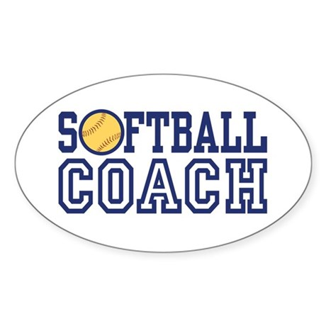 Softball Coach Oval Sticker (10 pk)