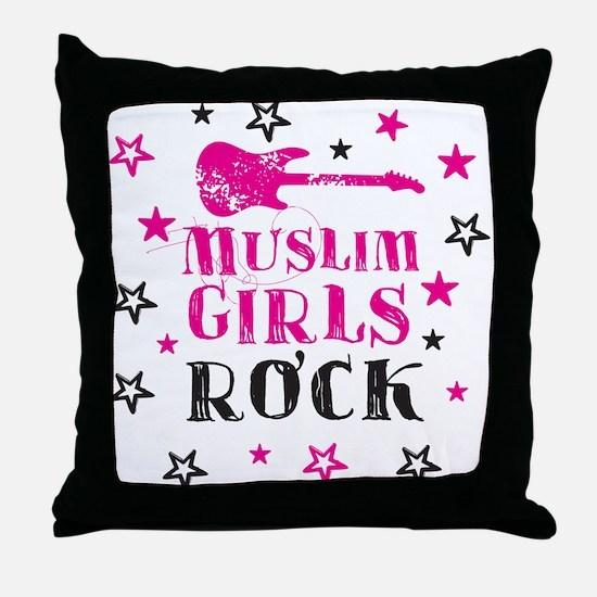 Muslim Girls Rock Throw Pillow