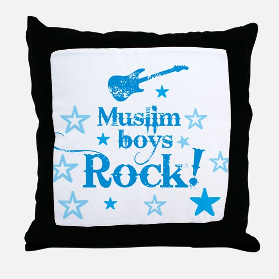 Muslim Boys Rock Throw Pillow