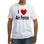 I Love Air Force (Front) Fitted T-Shirt