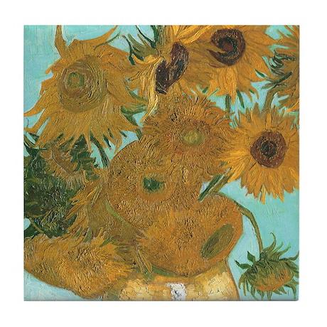 Van Gogh Vase with Sunflowers Tile Coaster