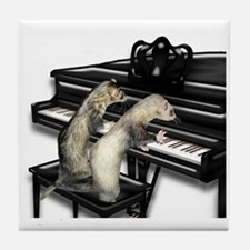 Ferrets Playing Piano Tile Coaster