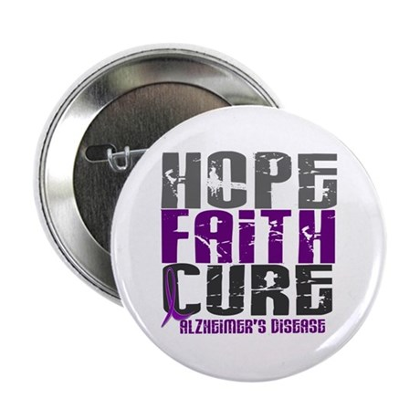 "HOPE FAITH CURE Alzheimer's Disease 2.25"" Button"