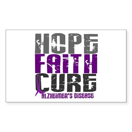 HOPE FAITH CURE Alzheimer's Disease Sticker (Recta