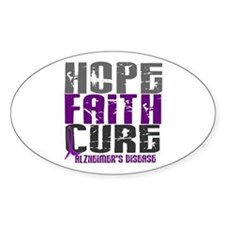 HOPE FAITH CURE Alzheimer's Disease Oval Decal