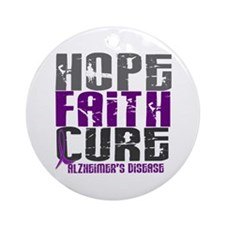 HOPE FAITH CURE Alzheimer's Disease Ornament (Roun