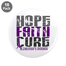 "HOPE FAITH CURE Alzheimer's Disease 3.5"" Button (1"