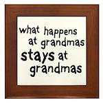 What Happens At Grandma's Framed Tile