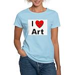 I Love Art (Front) Women's Pink T-Shirt