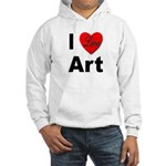 I Love Art (Front) Hooded Sweatshirt