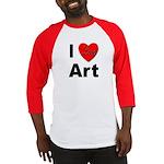I Love Art (Front) Baseball Jersey