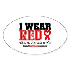 I Wear Red to Win Oval Decal