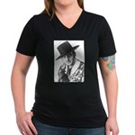"""Zorro"" Women's V-Neck Dark T-Shirt"