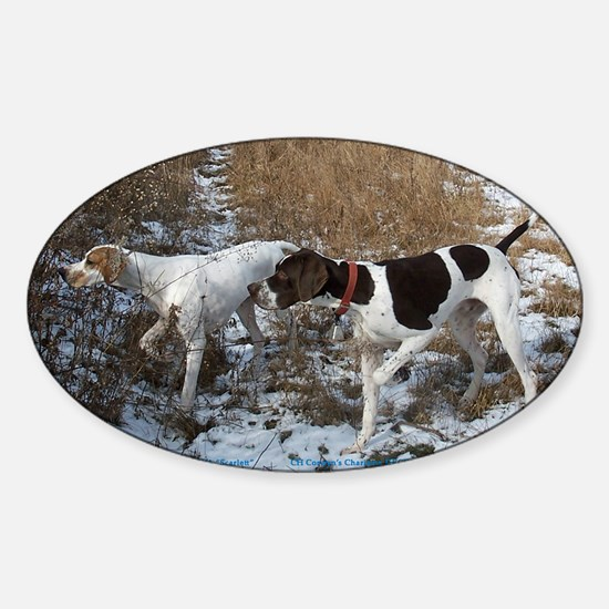 Pointer Pair at Work Oval Decal