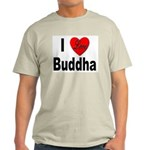 I Love Buddha (Front) Ash Grey T-Shirt