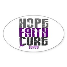 HOPE FAITH CURE Lupus Oval Sticker (10 pk)