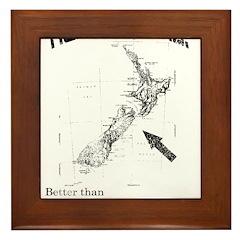 NZ, Better than Old Zealand Framed Tile