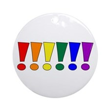 Rainbow Exclamation Points Round Ornament