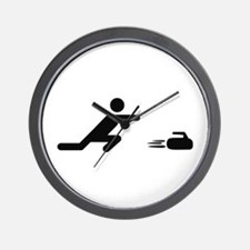 black curling logo curl symb Wall Clock